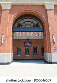 FLUSHING, NEW YORK - SEPTEMBER 5, 2017: Tickets booth at the Citi Field, home of major league baseball team the New York Mets in Flushing, New York