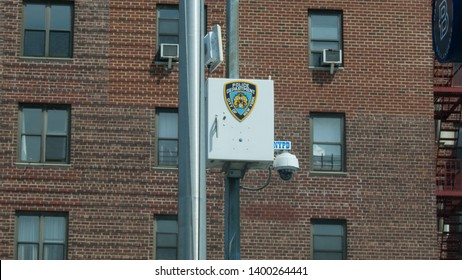 Flushing , New York USA -  May 8th, 2019: NYPD surveillance / security camera in Flushing on Northern Blvd