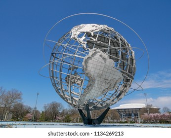 FLUSHING, NY - April 20, 2017: The iconic Unisphere in Flushing Meadows Corona Park in Queens. The structure was build for the 1964 NYC World's Fair.