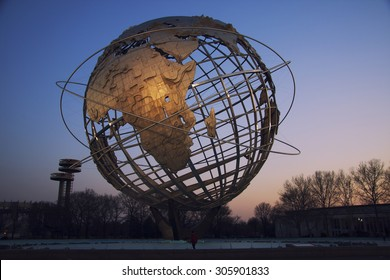 FLUSHING, NY - April 9: The iconic Unisphere in Flushing Meadows Corona Pk. in Queens, NYC as seen on April 9, 2009. The 12 story structure was commissioned for the 1964 NYC World's Fair.