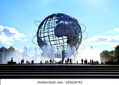 FLUSHING, NY - August 4, 2013: The iconic Unisphere in Flushing Meadows Corona Pk. in Queens. The 12 story structure was commissioned for the 1964 NYC World's Fair.