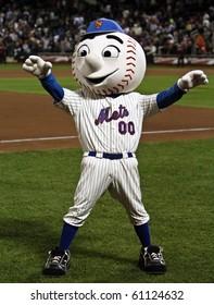 FLUSHING, NY - SEPTEMBER 15: New York Mets mascot, Mr. Met, during a baseball game at Citi Field ballpark against the Pittsburgh Pirates on September 15, 2010 in Flushing, New York.