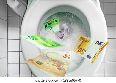 Flushing one hundred dollars down the toilet