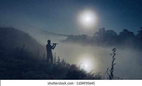 Flute Player on the Misty Riverside