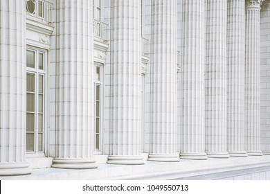 Fluted marble columns architectural detail on the Missouri State Capitol building in Jefferson City, Missouri
