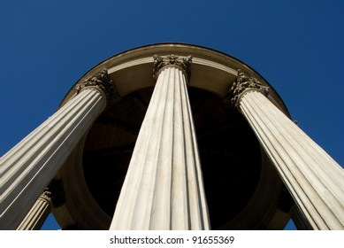 Fluted Temple Columns With Corinthian Capitals