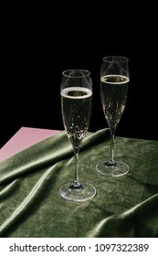 Flutes filled with Prosecco, an italian white sparkling wine cultivated in Valdobbiadene.