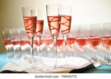 flutes at a wedding reception