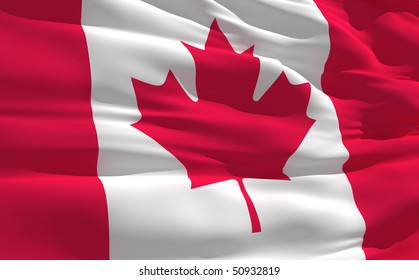 Fluttering flag of Canada on the wind