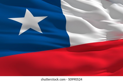 Fluttering flag of Chile on the wind