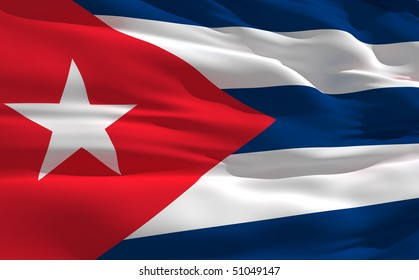 Fluttering flag of Cuba on the wind