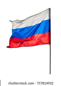 Fluttering flag of the Russian Federation isolated on a white background