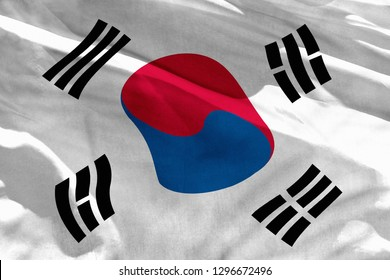 Fluttering Republic of Korea (South Korea) flag for using as texture or background, the flag is waving on the wind