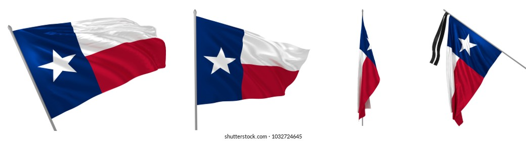 Fluttering, solemn, diplomatic, ceremonial and mourning flag of Texas 3d illustration
