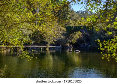 Fluvial beach formed by the Tea river, in the village of Covelo, in the province of Pontevedra (Spain)