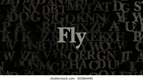 Fly - 3D rendered metallic typeset headline illustration.  Can be used for an online banner ad or a print postcard.