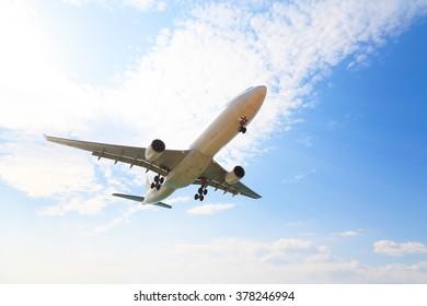 fly aircraft on blue sky
