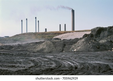 Fly ash dump and industrial chimneys, UK