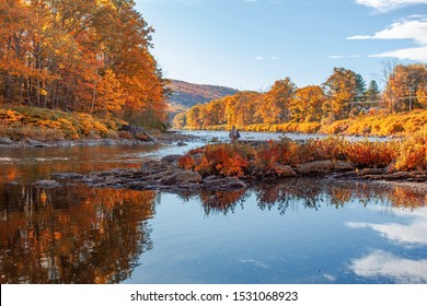 A fly fisherman on the Deerfield River in the Berkshires of Massachusetts during the fall foliage in October