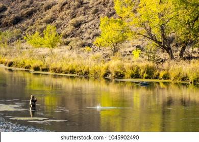 Fly fishing on the Owyhee River in Eastern Oregon near Boise, Idaho