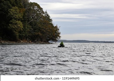 Fly fishing from pontoon boat