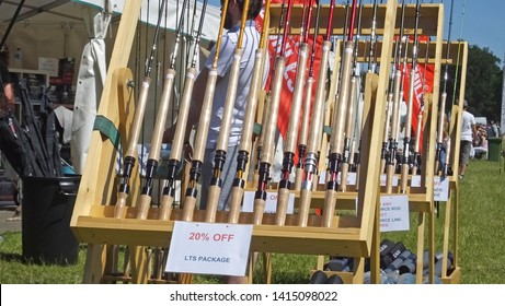 Fly fishing Rods at Shanes Castle Game Fair Antrim 1st june 2019
