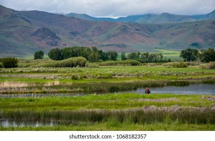 Fly fishing in Silver Creek, near Sun Valley, Idaho