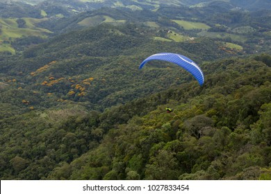 Fly free from paragliding. Adventure sport.