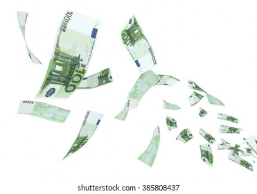 Fly Hundred euro banknotes close-up (isolated on white and clipping path)