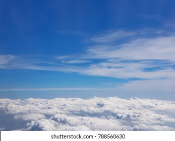 fly over cumulus cloud in summer blue sky