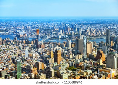 Fly over, view of New York and Manhattan from a bird's eye view.