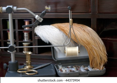 Fly tying equipment and materials in preparation of making trout flies
