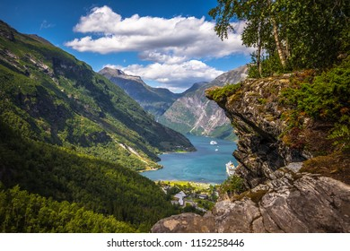 Flydalsjuvet viewpoint at the stunning UNESCO Geiranger fjord, Norway
