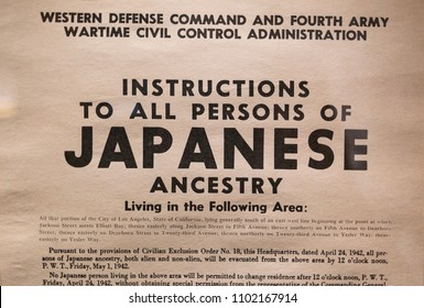 Flyer with instructions about the Japanese American internment in World War 2 on display at the United States Holocaust Memorial Museum in Washington, DC on May 30, 2018.