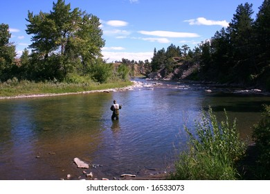 Fly-fishing on the Crowsnest River, Alberta, Canada; late summertime; blue skies; river and trees