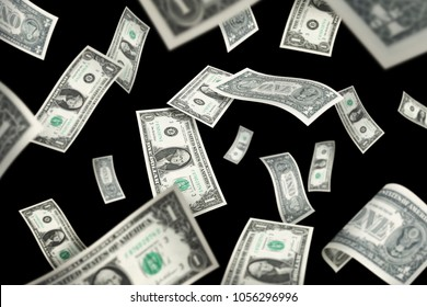 Flying 1 American dollar banknotes, isolated on black background