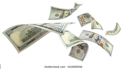 Flying 100 American dollars banknotes, isolated on white background - Shutterstock ID 1414030346