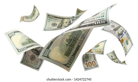 Flying 100 American dollars banknotes, isolated on white background