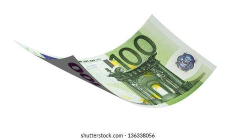 Flying 100 euro banknote money on a white background.