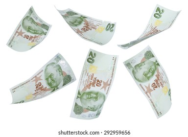 Flying 20 Turkis Liras on white background