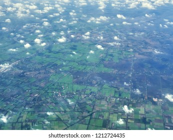 Flying above Cambodian rice fields