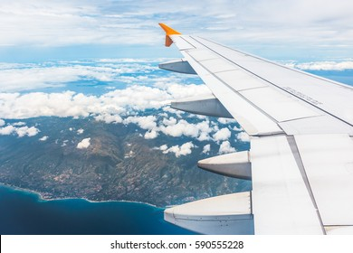 flying above Philipines with the bright sky