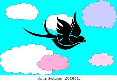 flying across the sky in the background of clouds and holding