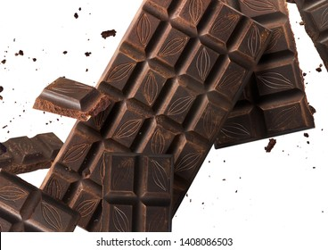Flying in air tasty dark chocolate isolated on white background. High resolution close-up image