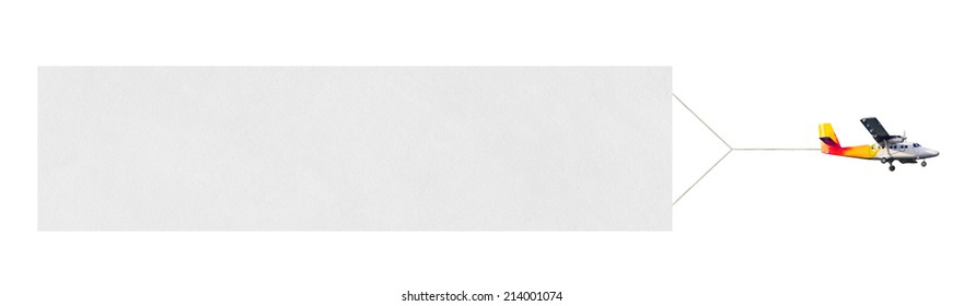 Flying airplane and banner isolated on white background