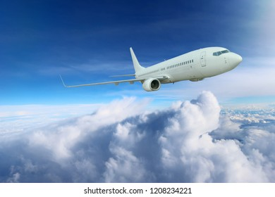 Flying airplane, transportation. Jet air plane. Adventure, commercial cloud sky travel