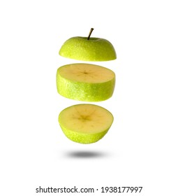 Flying apple green. Sliced apple green isolated on white background. Levity fruit floating in the air. - Shutterstock ID 1938177997