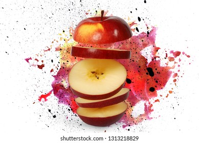 Flying apple. Sliced red apple with clipping path. Levity fruit floating in the air. Bright background in the form of a splash of colorful paints. Fruit Blast. Space for inscription.