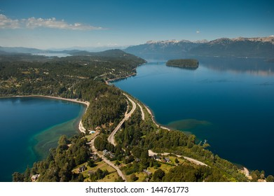 Flying around Villa La Angostura, Neuquen Province, Argentina, with a view of Lake Correntoso to the left and Lake Nahuel Huapi to the right.