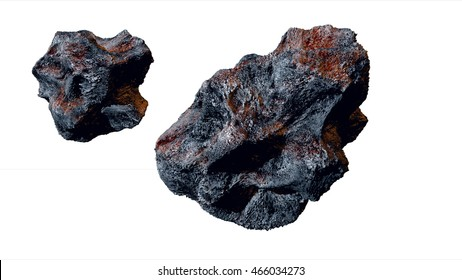 flying asteroid, meteorite. isolate. 3d rendering